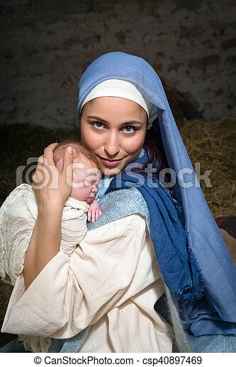 メアリー;バージン, 幸せ, 赤ん坊 - csp40897469