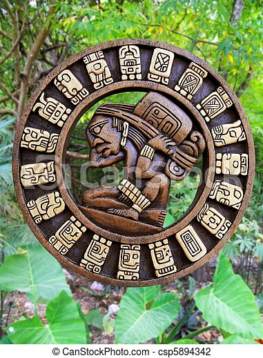 メキシコ\, 木製である, mayan, 文化, ジャングル, カレンダー - csp5894342