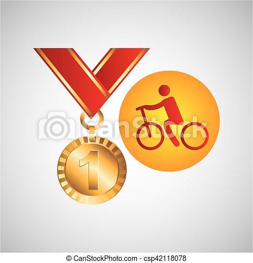 メダル, オリンピック, サイクリング, 金, アイコン - csp42118078