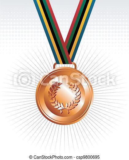 メダル, リボン, 銅, 背景 - csp9800695