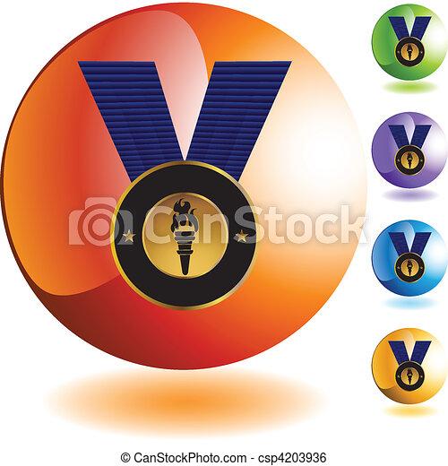 メダル, 金 - csp4203936