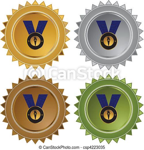 メダル, 金 - csp4223035