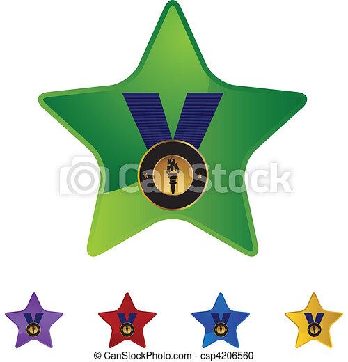 メダル, 金 - csp4206560
