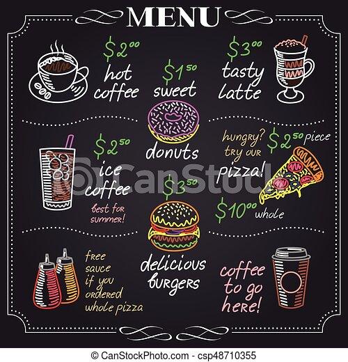 メニュー カフェ デザイン 黒板 メニュー イラスト ベクトル