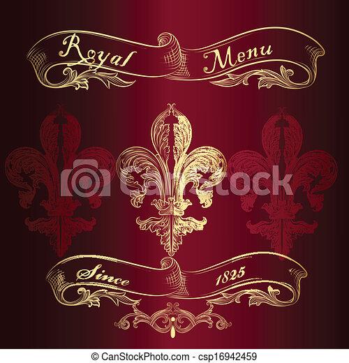 メニュー, de, 皇族, fleur, デザイン, lis - csp16942459