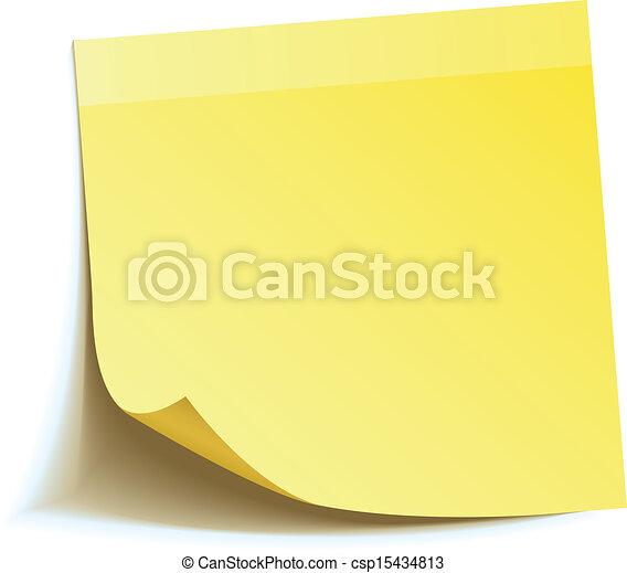 メモ, スティック, 黄色 - csp15434813