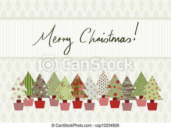 メリークリスマス カード 色 木 伝統的である Hand Drawn デザイン 陽気 案 クリスマスカード 手書き