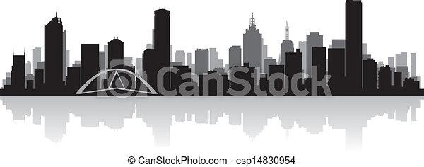メルボルン, スカイライン, ベクトル, 都市, オーストラリア, シルエット - csp14830954