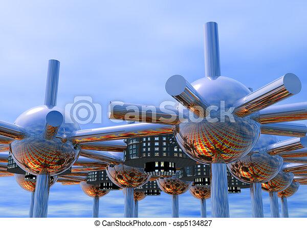 モジュール式である, 未来派, 都市 - csp5134827