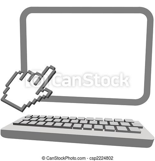 モニター, 手, カーソル, コンピュータキーボード, クリック, 3d - csp2224802