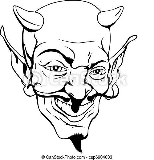 モノクローム, 悪魔, 顔 - csp6904003