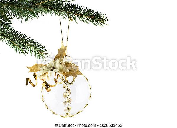 モミ, ボール, 木, クリスマス, 金 - csp0633453