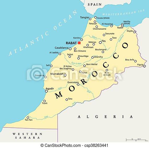 モロッコ, 政治的である, 地図 - csp38263441