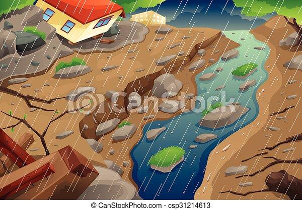 モンスーン, mudslide, 生じること, 雨, 洪水 - csp31214613