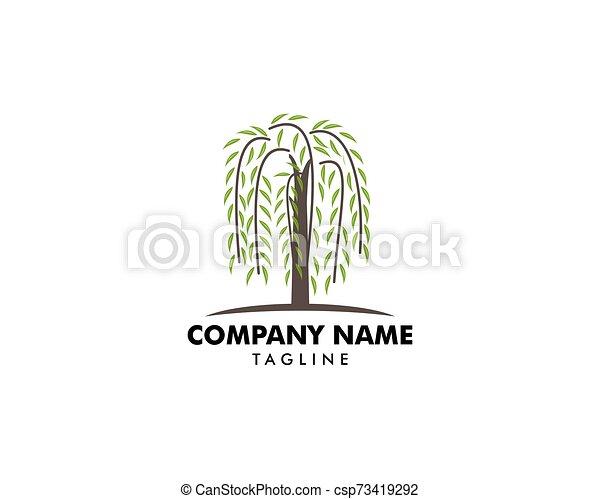 ヤナギ, ロゴ, シンボル, 木, ベクトル - csp73419292