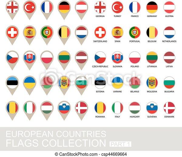 ヨーロッパの旗, コレクション, 国 - csp44669664