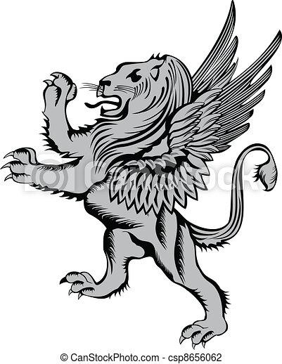 Heraldic, シンボル, ライオン, ...
