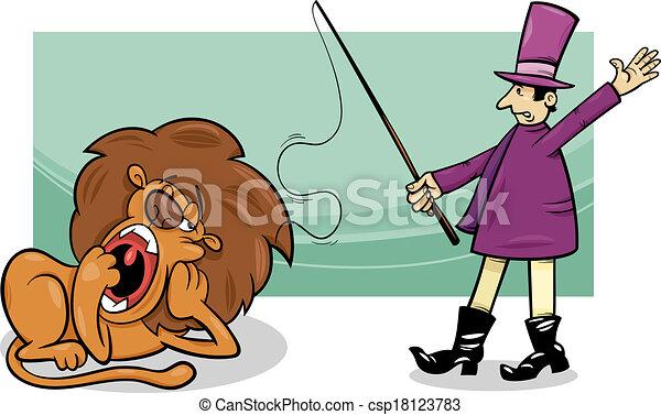 ライオン, 退屈させられた, 漫画, より飼い慣らされている - csp18123783