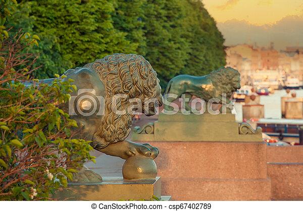 ライオン, st. 。, 古い, petersburg, 彫刻 - csp67402789