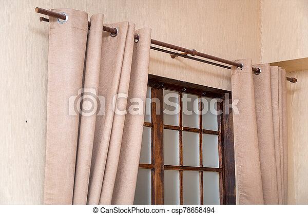 ライト, カーテン, 窓, 客間 - csp78658494