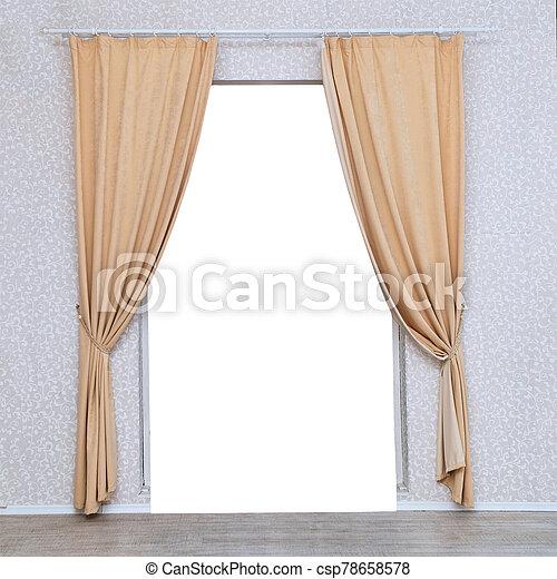 ライト, ドア, 上に, カーテン, 部屋 - csp78658578