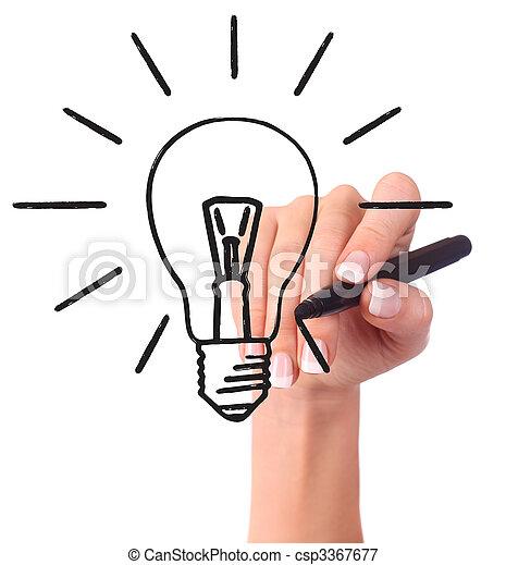 ライト, 手, 図画, 電球 - csp3367677