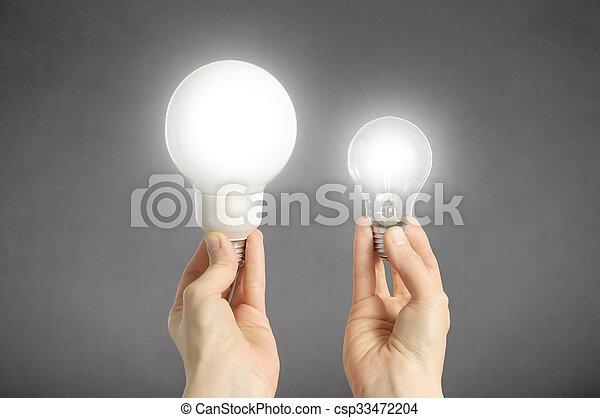 ライト, 手, 電球 - csp33472204