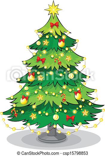 ライト, 木, 緑, 光っていること, クリスマス - csp15798853