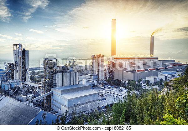 ライト, 産業, 石油化学, 白熱, sunset. - csp18082185