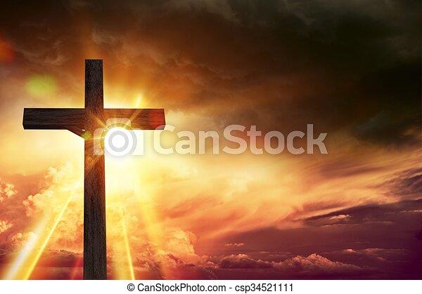 ライト, 祝福, 十字架像 - csp34521111