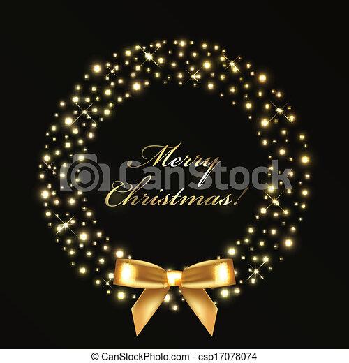 ライト, 花輪, クリスマス, 金 - csp17078074