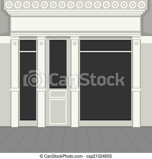 ライト, windows., shopfront, facade., 黒, vector., 店 - csp21024655