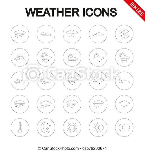 ライン。, vector., set., アイコン, 普遍的, 薄くなりなさい, weather. - csp79200674