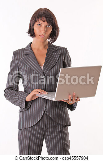 ラップトップ, 女性ビジネス - csp45557904