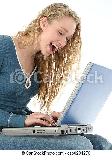 ラップトップ, 女, 笑い - csp0204270