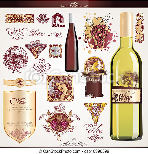 ラベル, セット, ワイン - csp10396599