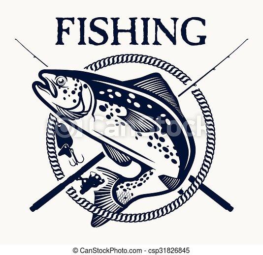 ラベル, マス, 要素, デザイン, 釣り, 型, 紋章 - csp31826845