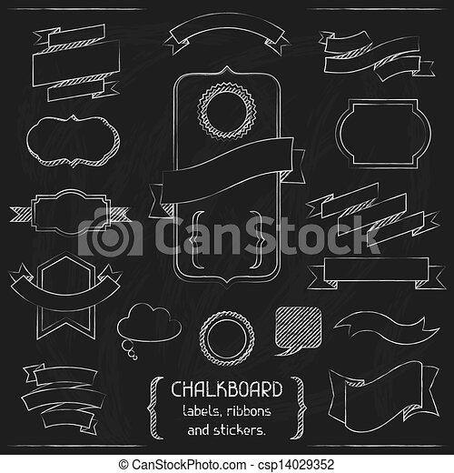 ラベル, stickers., リボン, 黒板 - csp14029352