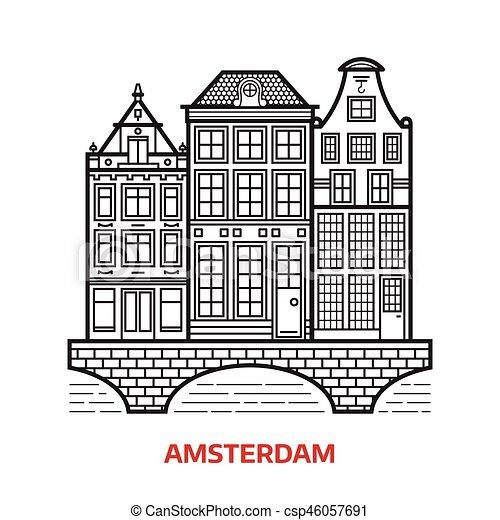 ランドマーク, アムステルダム, アイコン - csp46057691