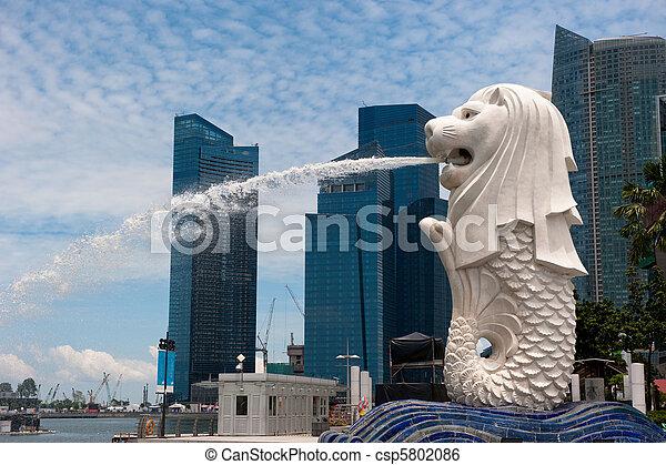 ランドマーク, 像, merlion, シンガポール - csp5802086