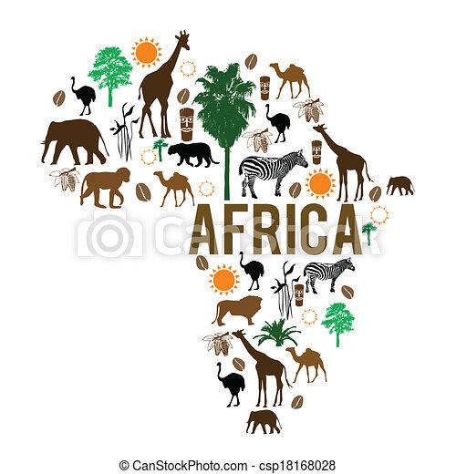 ランドマーク, 地図, シルエット, アフリカ, アイコン - csp18168028