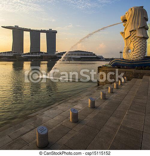 ランドマーク, merlion, 日の出, シンガポール - csp15115152