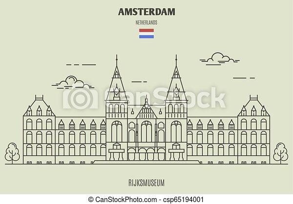 ランドマーク, netherlands., アムステルダム, rijksmuseum, アイコン - csp65194001
