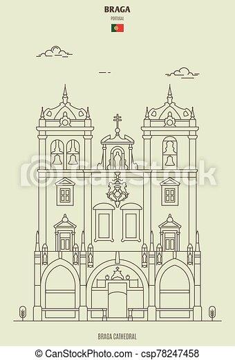 ランドマーク, portugal., アイコン, 大聖堂, braga - csp78247458