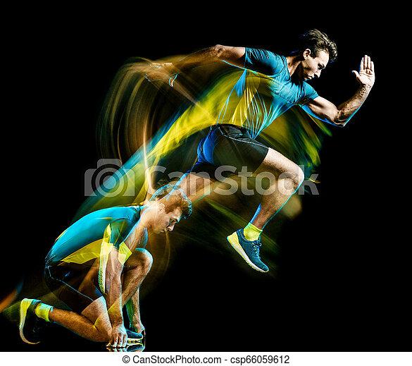 ランナー, ライト, 動くこと, 隔離された, ジョガー, ジョッギング, 黒い背景, 絵, 人 - csp66059612