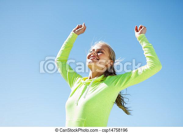 ランナー, 祝う, 女, 勝利 - csp14758196