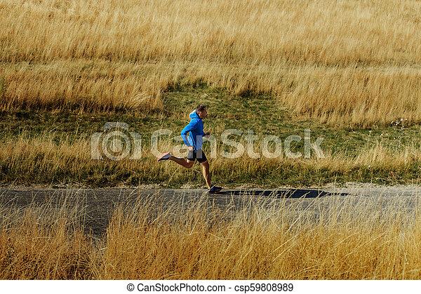 ランナー, 走っている男性, 道, アスファルト - csp59808989