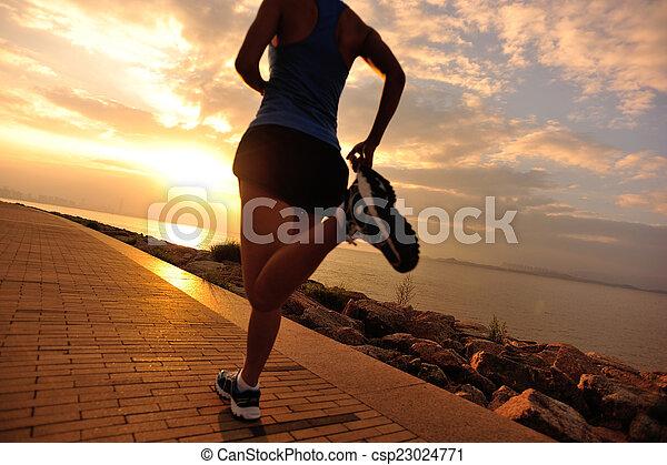 ランナー, 運動選手, 動くこと, seaside. - csp23024771