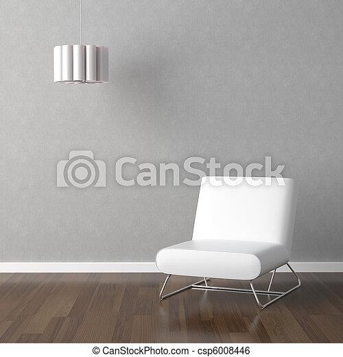 ランプ, 白, 灰色, 椅子 - csp6008446