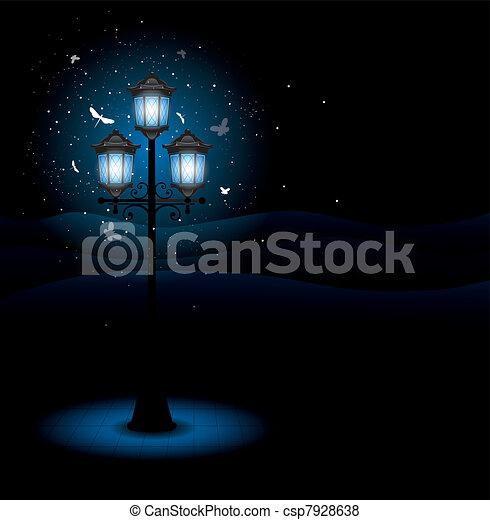 ランプ, 通り, 古い, 夜 - csp7928638